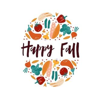 収穫シーズン手描きベクトルバナーテンプレート。装飾的な熟した野菜の丸いフレームの幸せな秋のレタリング。エコ農産物フェア、有機農業、収穫収集イベントポスターデザイン要素