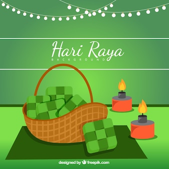 Hary raya background with basket