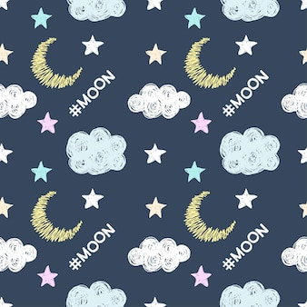 Hash tag moon and simple graphic stylish stars and clouds isolated on dark cover. hand drawn doodle seamless creative pattern background for use in design