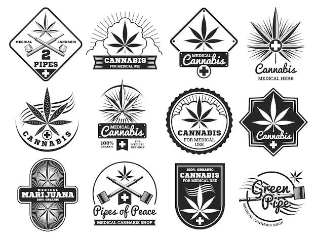 ハッシュ、ラスタマン、麻、大麻、マリファナのベクトルのロゴとラベルセット