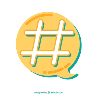 Hashtag design with yellow speech bubble