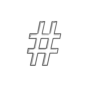 해시 태그 손으로 그린 개요 낙서 아이콘입니다. 인쇄, 웹, 모바일 및 흰색 배경에 고립 된 infographics에 대 한 인터넷 통신 및 소셜 미디어 벡터 스케치 그림.