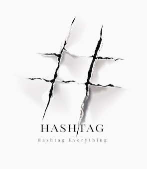 Hashtag slogan on ripped paper in hashtag sign illustration