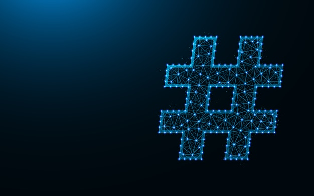 Hashtag symbol low poly design background