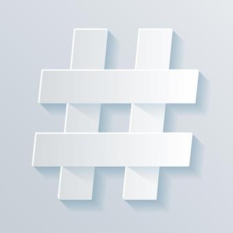 Символ хештега, числовой знак. бумажный стиль.