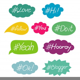 Hashtag words in speech bubble vector set