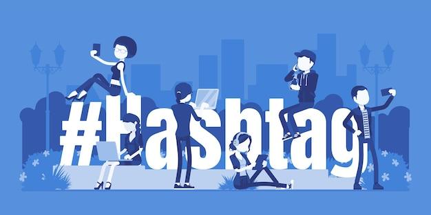 Хэштег, молодые люди, использующие социальные сети, веб-сайты и приложения для смартфонов. хеш-знак гигантский символ, пользователи отмечают темы, сообщения, представляющие интерес, мобильные новости. векторная иллюстрация, безликие персонажи