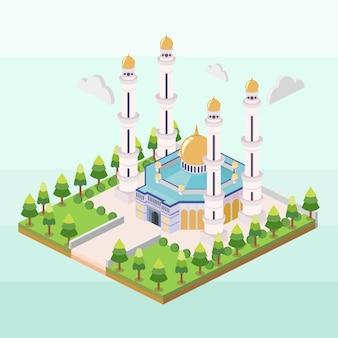 Hassanil bolkiah mosque of brunei in isometric