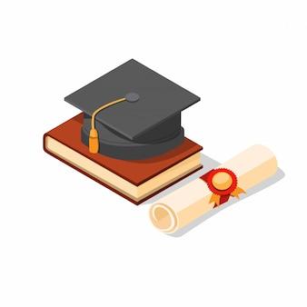 帽子、本、シャドウ効果の現実的なイラスト等尺性編集可能な卒業証書