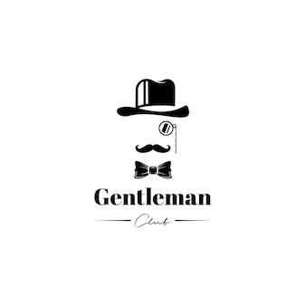 帽子の蝶ネクタイと口ひげ紳士のロゴデザインベクトル