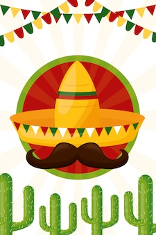 Hat and cactus mexican culture, illustration