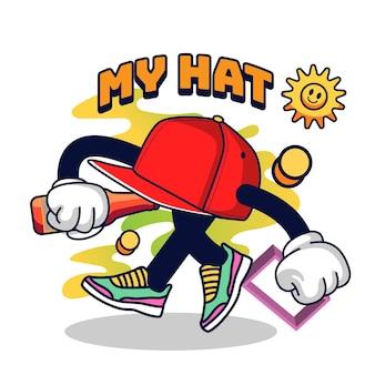 Hat character vintage 90's illustration