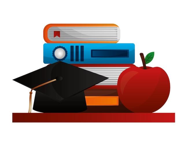 本とリンゴの帽子卒業