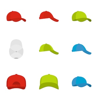 Hat icons set. flat set of 9 hat icons