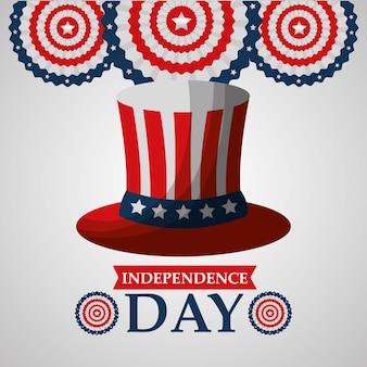 フラグアメリカの独立記念日と帽子のラベルの装飾