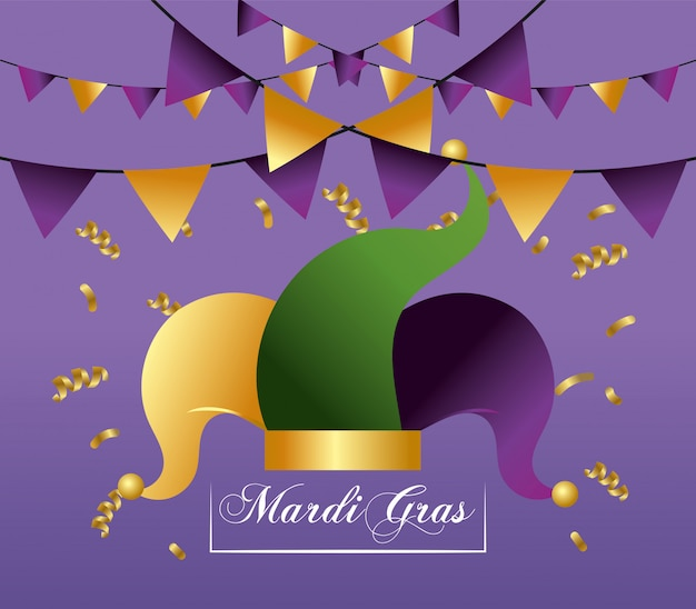 Hat and party banner decoration to merdi gras event