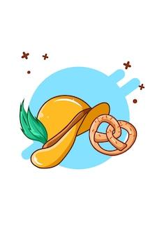 Hat and pretzel at oktoberfest cartoon illustration