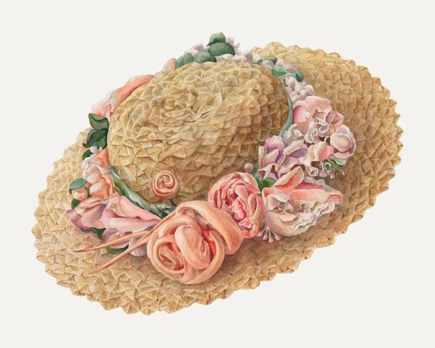 Juanitadonahooによるアートワークからリミックスされた帽子のビンテージベクトルイラスト。