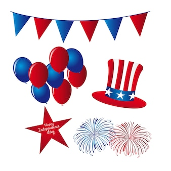 Hat with balloons and fireworks independence day elements vector