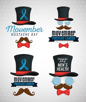 Hat with blue ribbon, mustache with glasses and tie bow set