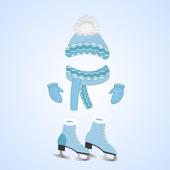A hat with a fluffy pompon, a scarf, mittens. skates with fur. winter sports day.