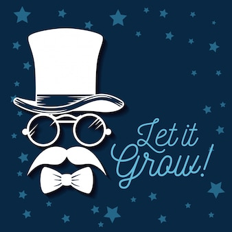 Hat with glasses and mustache with tie bow illustration
