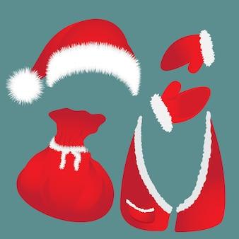 ポンポン、バッグ、チョッキ、サンタクロースの手袋が付いている帽子。