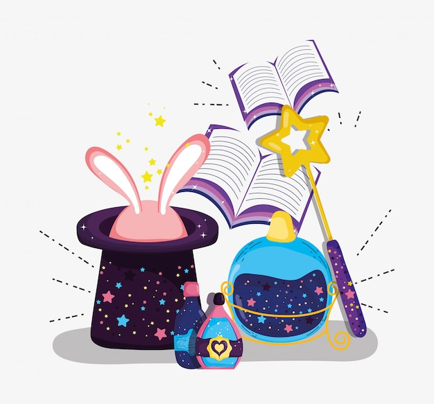 Hat with rabbit and magic wand with books