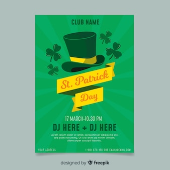 Hat with ribbon st patrick's day poster template