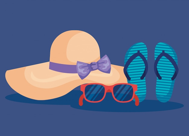 Hat with sunglasses and flip-flop to summer time