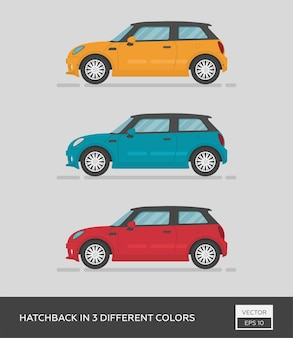 Hatchback in 3 different colors