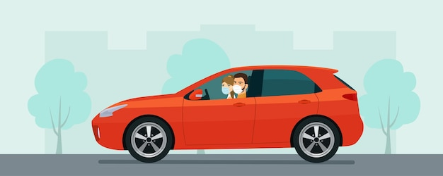 Hatchback car with a young man and woman in a medical mask driving on a background of abstract cityscape.  flat style illustration.