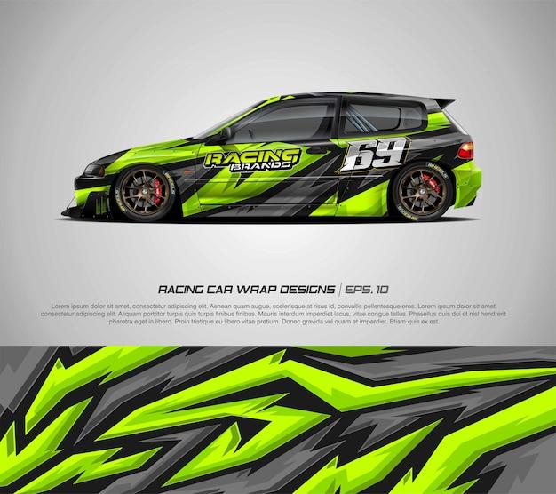 ハッチバックレースカーのカラーリングデザイン