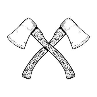 Иллюстрация топора на белом фоне. элементы для плаката, эмблемы, знака. образ