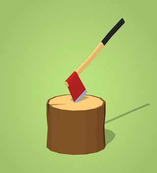 Hatchet in the stump. 3d lowpoly isometric vector illustration