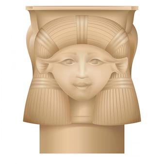 Hathor column, ancient egypt capital, temple at dendera