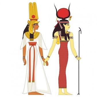 Hathor, egyptian ancient symbol, isolated figure of ancient egypt deities