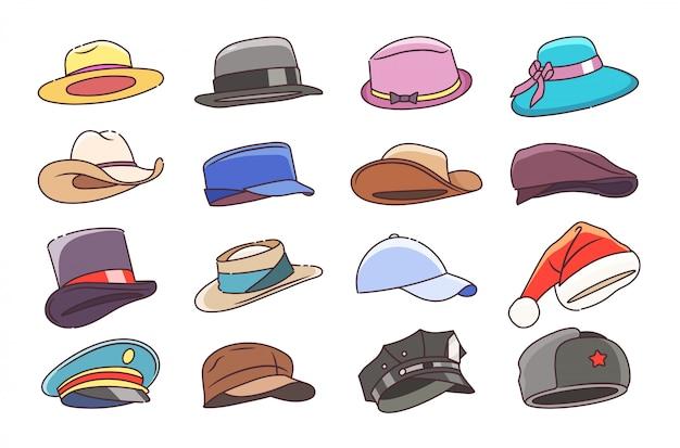 모자와 모자. 신사 숙녀 여러분을위한 모자 모자