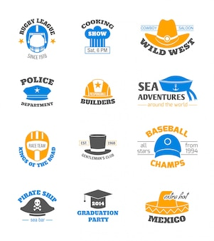 Hats and cap professions stamps set isolated vector illustration