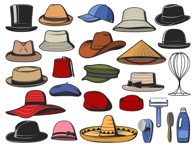 Hats and caps headwear icons