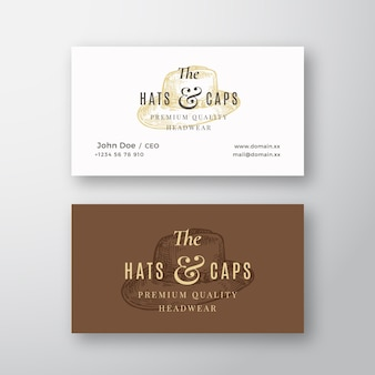 Hats and caps store abstract vector logo and business card template italian hat sketch drawing with ...
