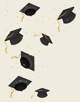 Hats graduation celebration pattern background