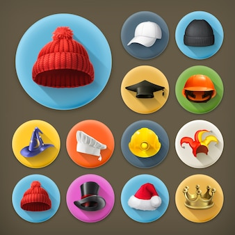 Hats icon set with shadow
