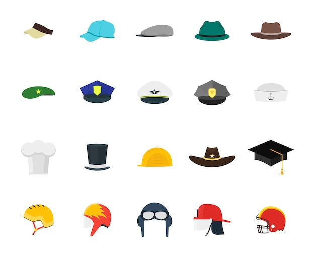 Hats set fashion for men. flat design style. different types for professions.
