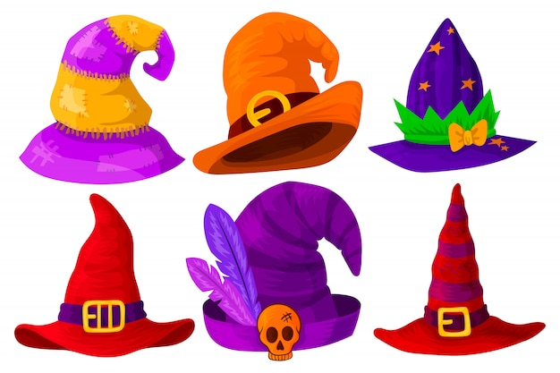 Hats of wizards, magicians, witches of different colors and shapes.