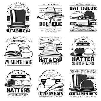 모자 장수, 모자 재단사 및 카우보이 모자 아이콘, 모자