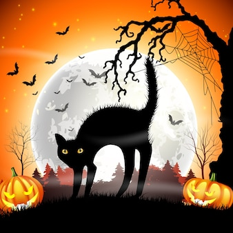 Призрачная черная кошка с тыквой хэллоуин на полной луне