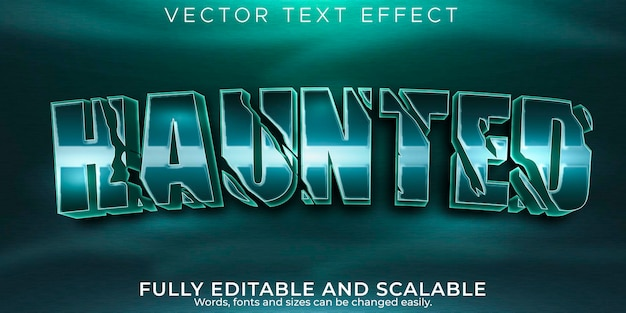 Редактируемый текстовый эффект с привидениями, мертвый и страшный текстовый стиль