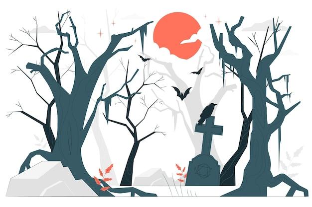 Призрачный лес концепции иллюстрации