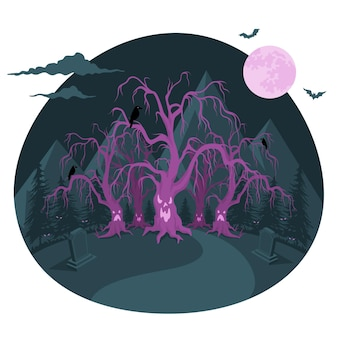 Haunted forest concept illustration
